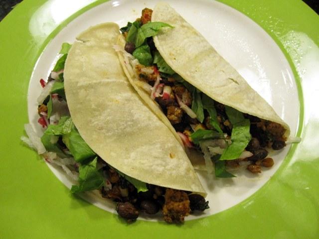 Tacos with Arugula, Black Beans and Pork
