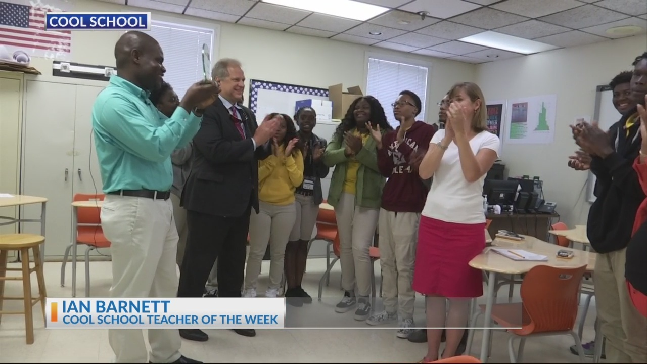 Mr. Ian Barnett receives News 2 Cool School Teacher award