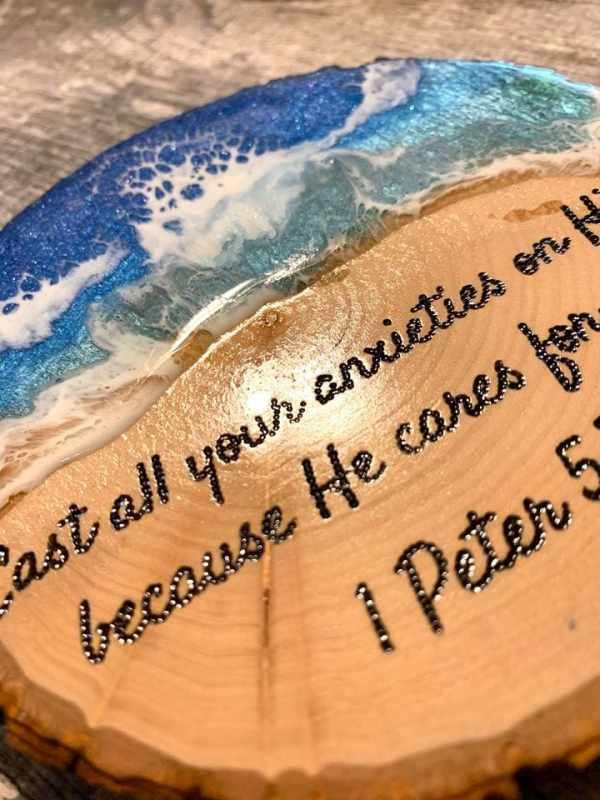 1 Peter 5:7 Ocean Resin Art