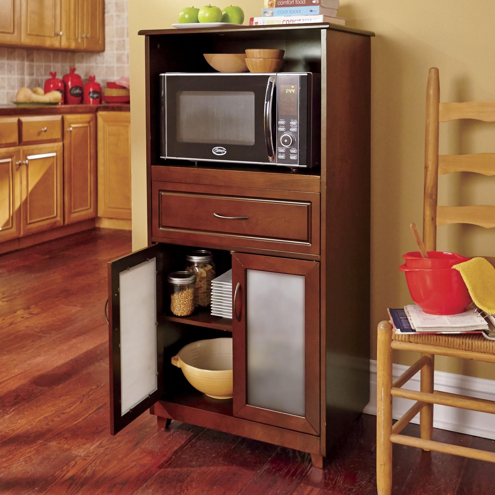 Microwave Storage With Glass Door Cabinet Country Door