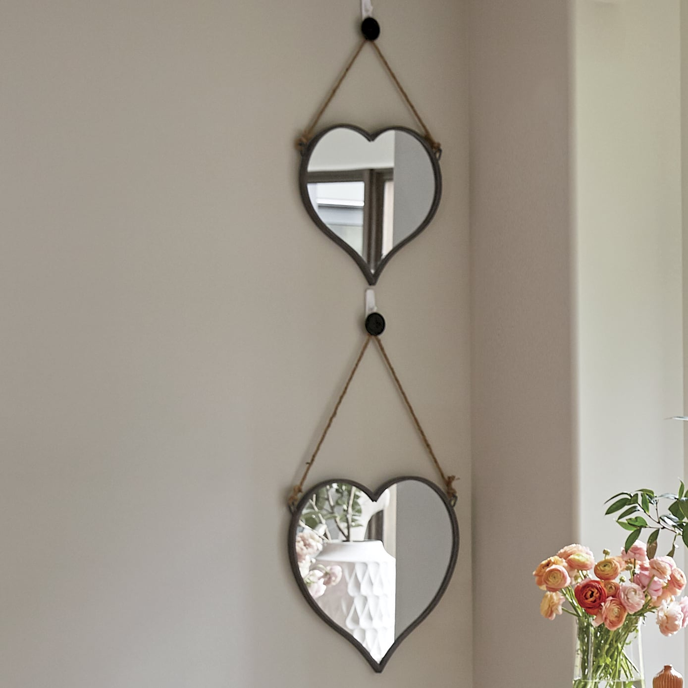 Mirrors   Wall  D    cor  Sets   Country Door Set of 2 Heart Wall Mirrors