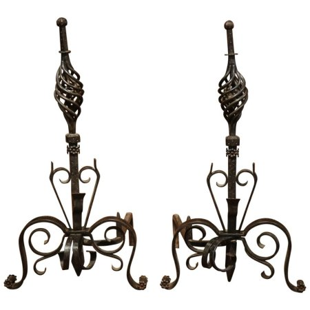 Pair of 19th Century French Black Iron Andirons