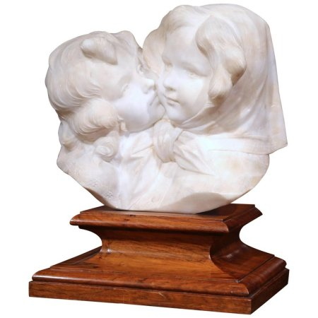 Early 20th Century Italian Carved Marble Bust Composition on Stand Signed Gory
