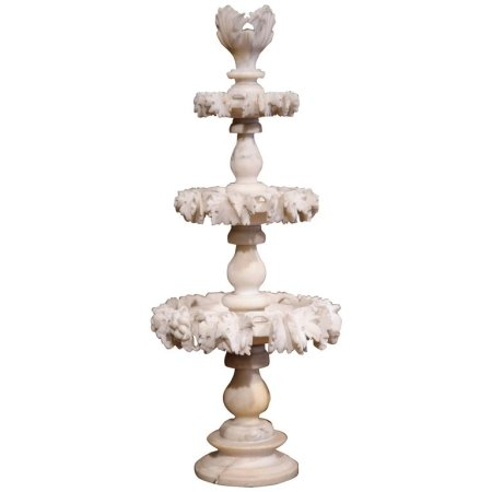 19th Century French Three-Tier Carved Alabaster Display Centerpiece