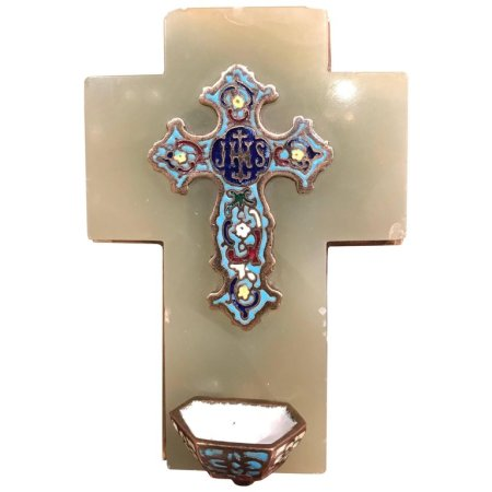 19th Century French Green Marble Cross and Holy Water with CloisonnM) Technique