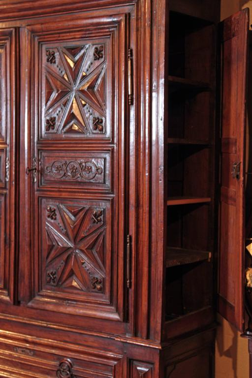 17th Century French Louis XIII Period Carved Walnut Armoire with Fleur-De-Lys