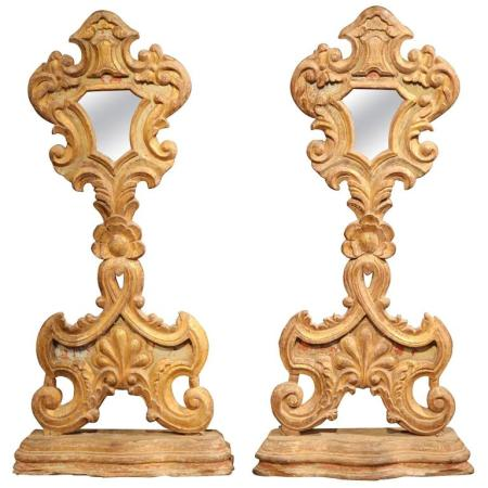 Pair of Early 19th Century Italian Carved and Gilt Church Mirrors on Stand