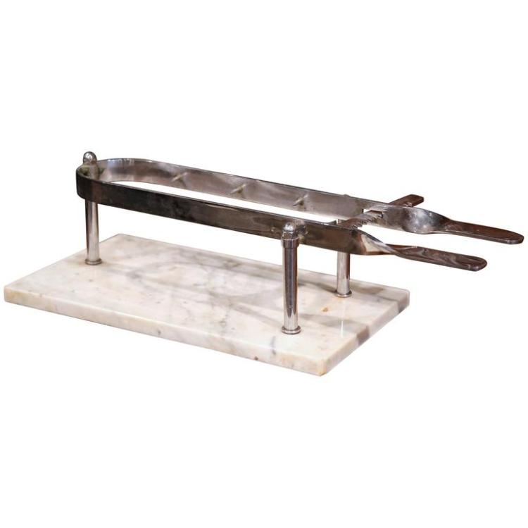 Early 20th Century French Stainless Steel and Marble Butcher Meat Holder
