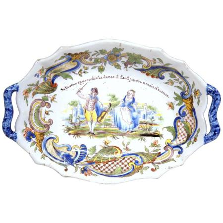 19th Century Hand-Painted Oval Platter with Handles from Rouen with French Motto