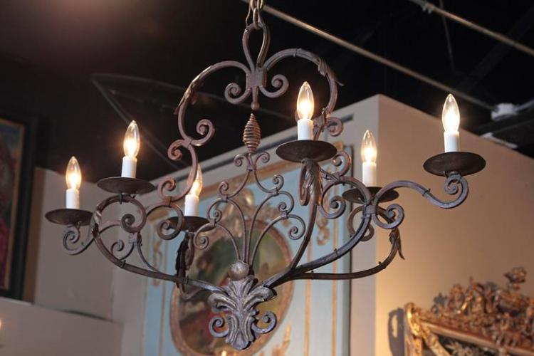 Early 20th Century French Six-Light Verdigris Iron Chandelier with Fleur-de-Lys