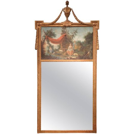 18th Century French Louis XVI Gilt Trumeau Mirror from Provence
