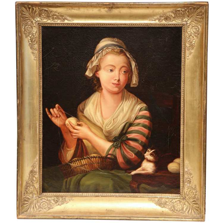 19th Century French Oil on Canvas Portrait in Gilt Frame