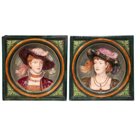 Pair of 19th Century, French Hand-Painted Barbotines Plaques with Relief