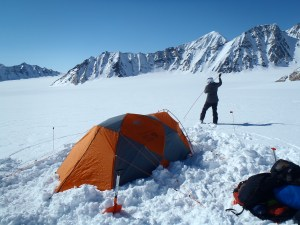 Probing for crevasses at Camp I