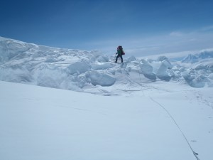 Climbing through an icefall