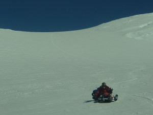 Sledding down from King Col