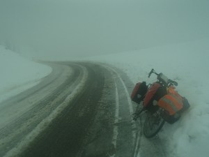 Snowy biking conditions