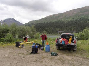Unloading at the put-in near divide lake