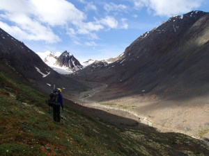 Hiking toward the exit pass, with peak 46 in the background