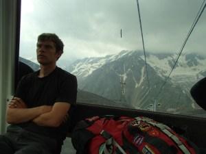 Riding the gondola up