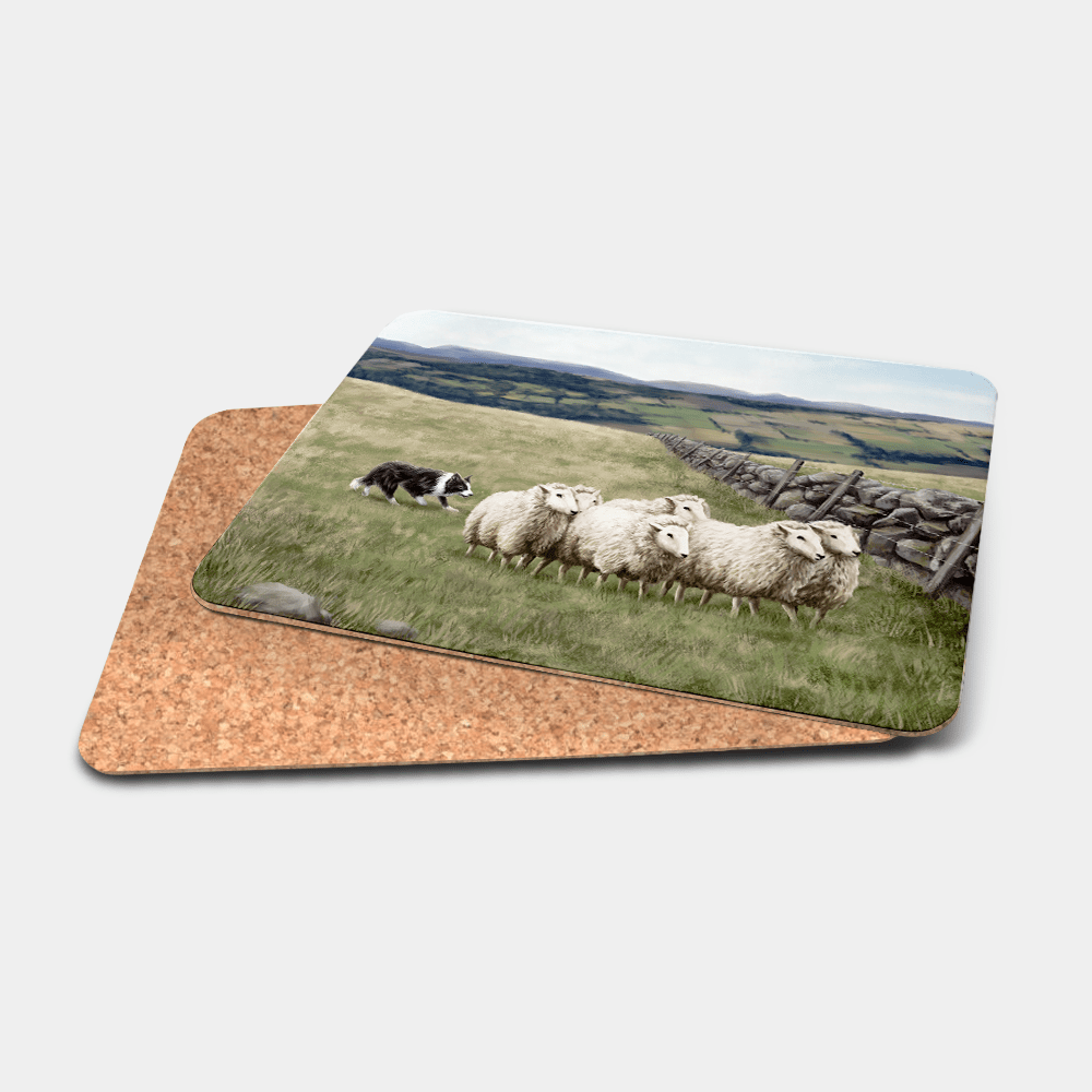 Country Images Personalised Printed Custom Placemats Tablemats Cheap Highland Collection Sheep and Sheepdog Croft Crofting Crofter Farming Dog Trials Scotland Scottish Gift Gifts Ideas Tableware (Cork)