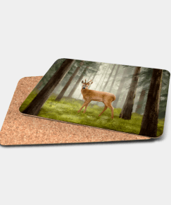 Country Images Personalised Printed Custom Placemats Tablemats Cheap Highland Collection Roe Roebuck Buck Bucks Roebucks Deer Stag Stags Scotland Scottish Gift Gifts Ideas Tableware (Cork)