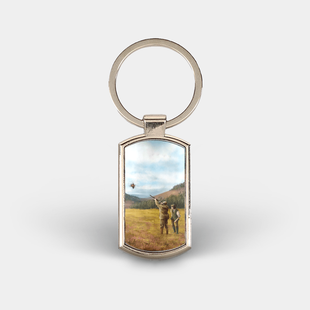 Country Images Custom Customised Customise Personalise Personalised Lozenge Metal Keyring Clay Shooting Pigeon Sports Hunting Gift Gifts