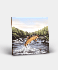 Country Images Personalised Custom Ceramic Tile Tiles Scotland Highland Collection Leaping Brown Trout Angling Fishing Gift Gifts 2