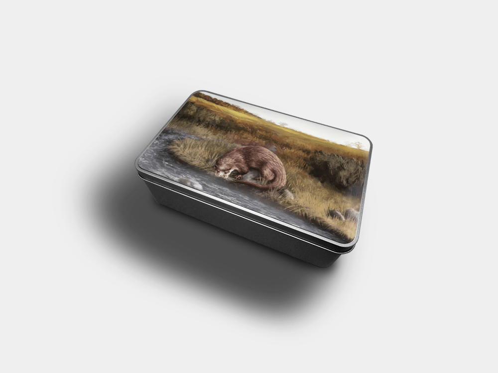 Country Images Personalised Custom Customised Rectangular Tin Tins Scotland Scottish Highland Highlands Biscuit Sweet Otter Otters