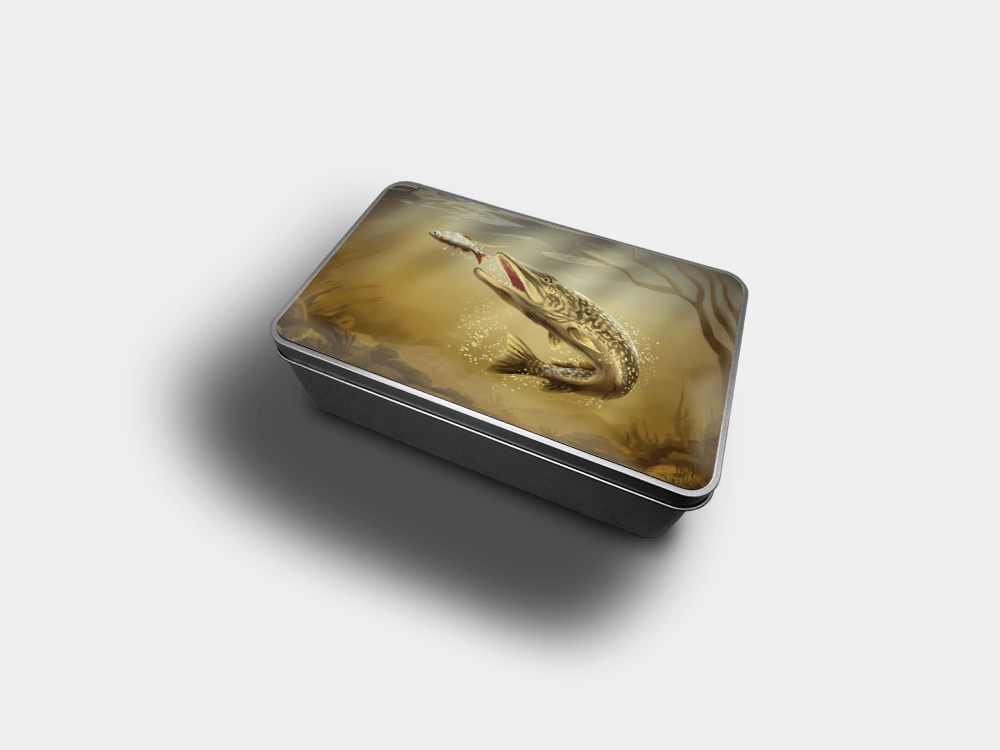 Country Images Personalised Custom Customised Rectangular Tin Tins Scotland Scottish Highlands Biscuit Sweet Pike Fishing Gift Gifts Angling 1