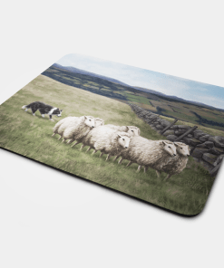 Country Images Personalised Fabric Custom Customised Mousemat Cheap Scotland UK Sheep and Sheepdog Croft Crofting Crofter Farmer Gift Gifts Ideas