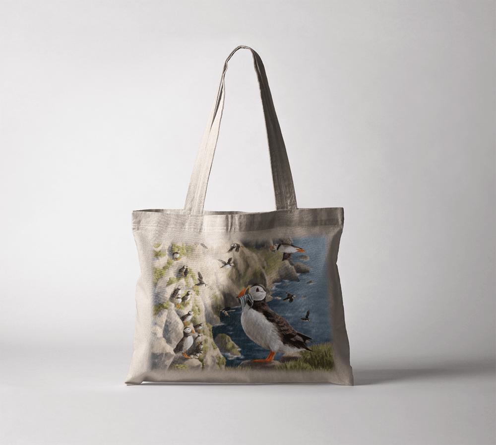 Country Images Personalised Highland Collection Scottish Puffin Wildlife Cheap Tote Bag Scotland UK