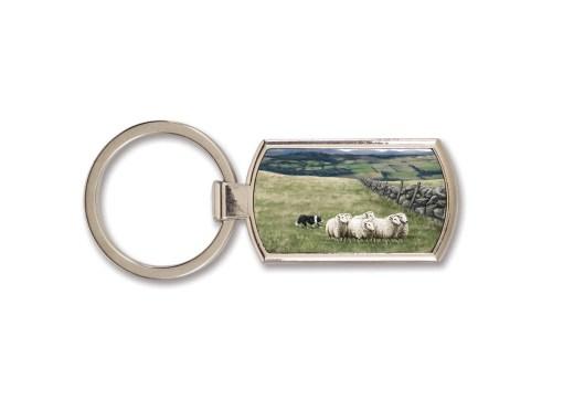 Highland Collection - Lozenge Keyring (Sheep & Sheepdog)
