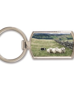 Highland Collection - Lozenge Keyring (Sheep & Sheepdog)