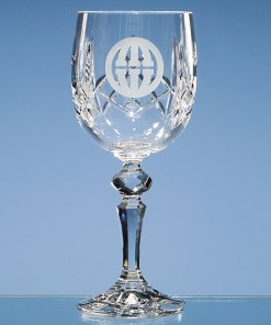 "Engraved ""Charlotte"" Cut Panel Red Wine Goblet"