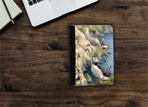 Highland Collection - Flip iPad Case (Puffin) Personalised Gift