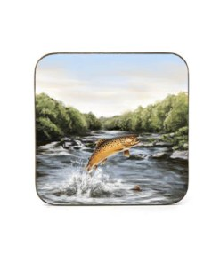 Highland Collection - Square Coaster (Brown Trout) Personalised Gift