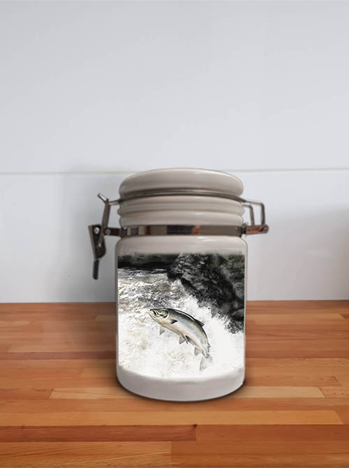 Highland Collection - Storage Jar Container (Leaping Salmon) Personalised Gift
