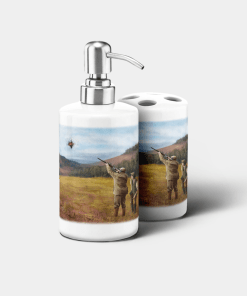 Country Images Personalised Custom Ceramic Bathroom Toothbrush Holder Soap Dispenser Set Clay Pigeon Shooting Sports Sporting Gift Shoot Gifts