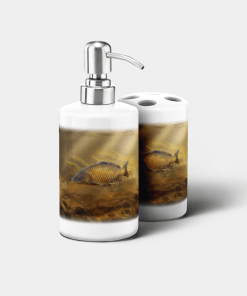 Country Images Personalised Custom Ceramic Bathroom Toothbrush Holder Soap Dispenser Set Sports Sporting Fishing Angling Common Carp Gift Gifts