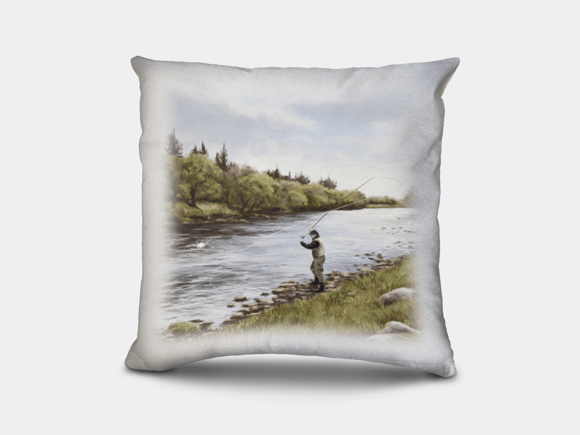 Country Images Personalised Highland Collection Scottish Fly Fishing Fisherman Cheap Linen Cushion Scotland UK 2