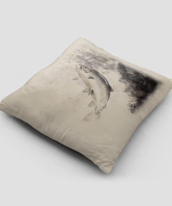 Country Images Personalised Highland Collection Scottish Leaping Salmon Cheap Linen Cushion Scotland UK