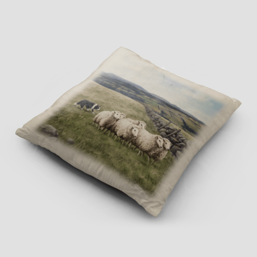 Country Images Personalised Highland Collection Scottish Sheep and Sheep Dog Cheap Linen Cushion Scotland UK