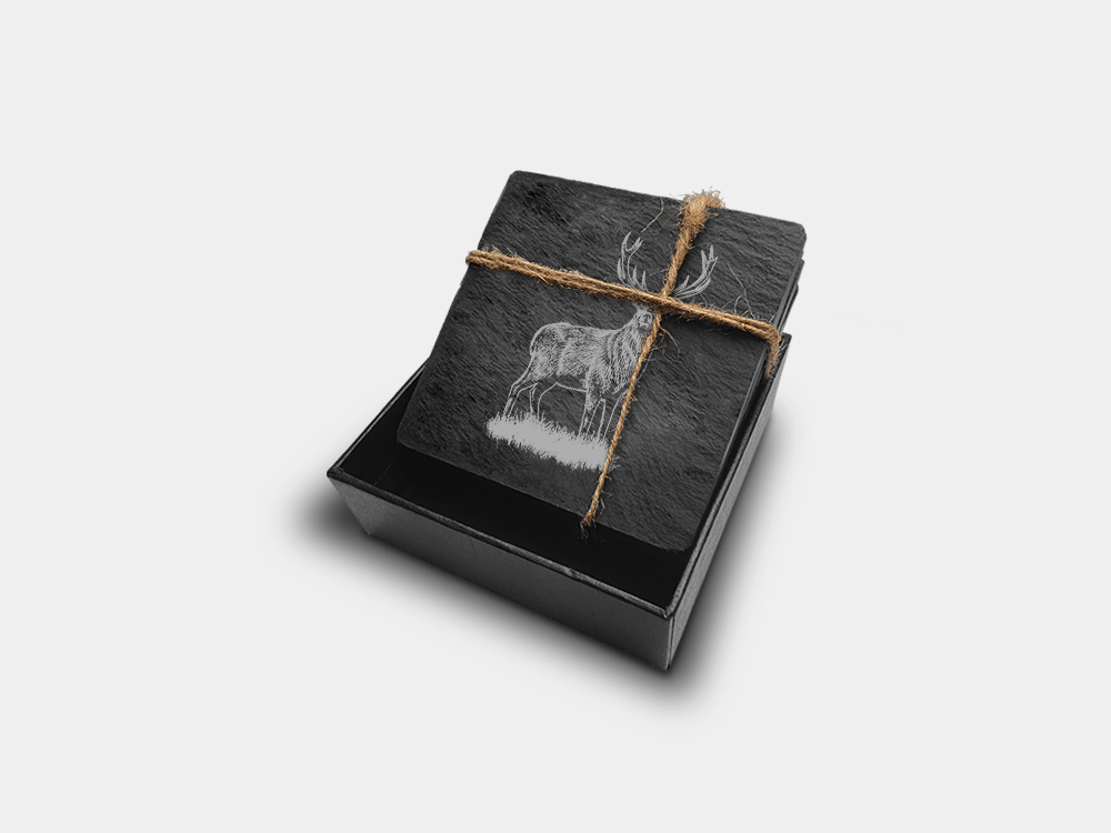 Country Images Scotland Custom Customised Personalised Slate Coasters Scottish UK Box Set Highland Collection Four Stag Deer Stags y