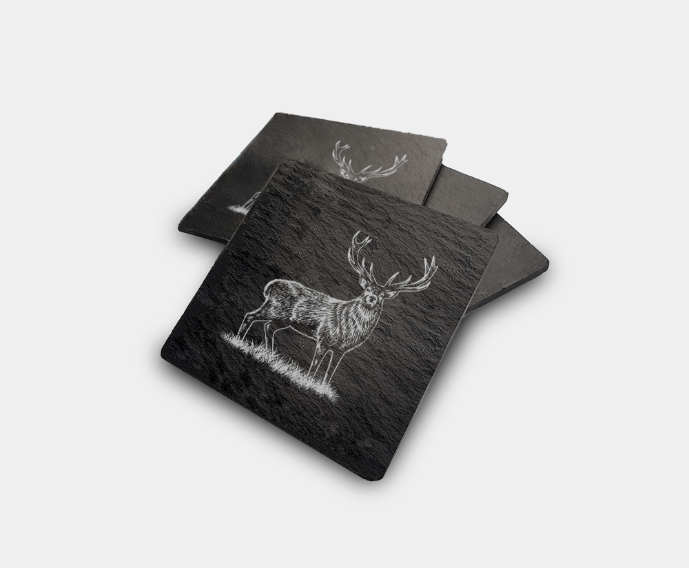 Country Images Scotland Custom Customised Personalised Slate Coasters Scottish UK Box Set Twine Highland Collection Scottish Scotland Four Stag Stags Deer 1
