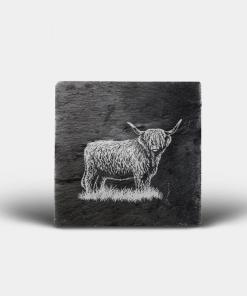 Country Images Scotland Custom Personalised Slate Coasters Highland Collection Engraved Scottish UK Highland Cow Hairy Coo Nature Wildlife Animals