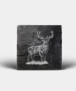 Country Images Scotland Custom Personalised Slate Coasters Highland Collection Engraved Scottish UK Stag Stags Deer Nature Wildlife Animals