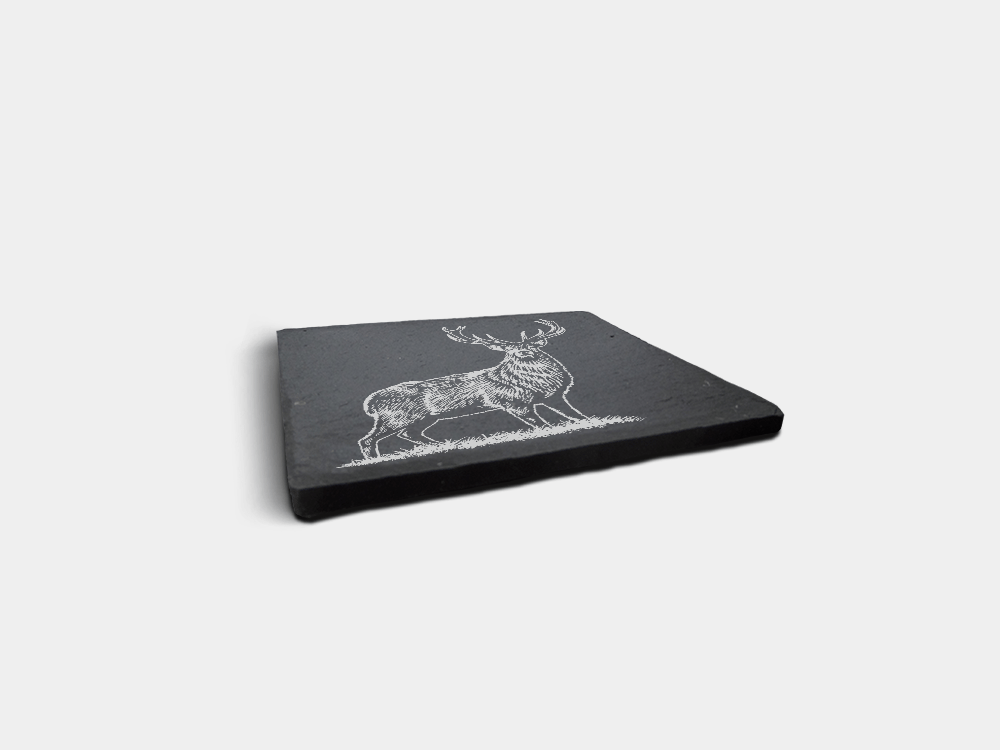Country Images Scotland Custom Personalised Slate Coasters Highland Collection Stag Deer Engraved Scottish UK