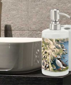 Highland Collection - Bathroom Set Toothbrush Holder and Soap Dispenser (Puffin) Personalised Gift