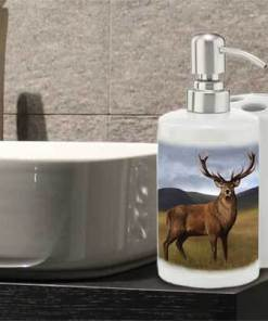 Highland Collection - Bathroom Set Toothbrush Holder and Soap Dispenser (Stag) Personalised Gift